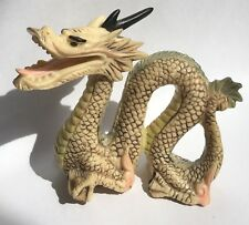 Vintage Chinese Japanese Hand Painted Engraved Dragon Resin Figurine