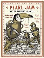 NEW 2018 PEARL JAM Ravi Zupa Concert Edition Poster Rio de Janeiro 3/21 Print