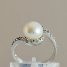 CULTURED PEARL CUBIC ZIRCONIA RING 9.3mm PEARL 925 STERLING SILVER SIZE P1/2 NEW
