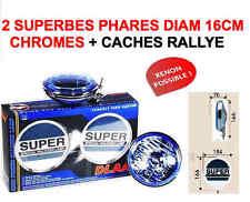 2 Phares 16cm + Cache Rallye Bol Chromé Verre Bleu RAID 4X4 HDJ KDJ PATROL LAND