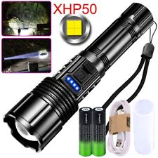 350000LM P50 Powerful LED Flashlight Rechargeable 5 Modes COB Torch XHP50 Light