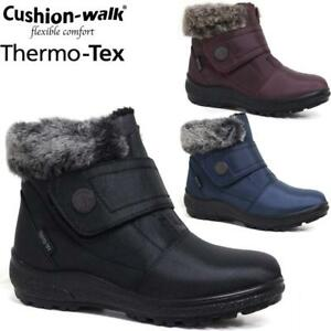 Ladies Cushion Walk Fur Lined Warm Grip Sole Quilted Winter Zip Fastening Boots