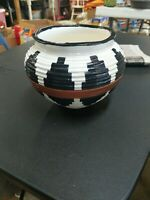 Vintage Pottery Bowl With Black And Brown Design
