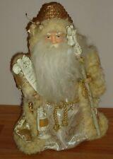 "Santa Claus w/Lantern, List, Staff Christmas Tree Topper Figure cream & Gold 12"""