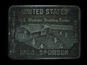 TE05130 VINTAGE 1989 **UNITED STATES OLYMPIC SHOOTING CENTER** BELT BUCKLE