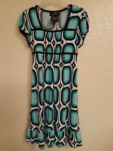 Speechless Girls Blue Black Print Polyester Dress Size 7