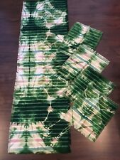 Set of Green Batik tie-dye table runner and 4 napkins  (F53)