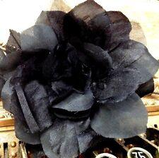 "Vintage Silk Organza 5"" Black leaves Czech Flower Rose"