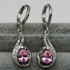 18K White Gold Filled - Pink 2-Layer Topaz Hollow Waterdrop Cocktail Earrings