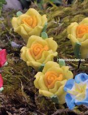 Miniature Yellow Rose Flower Picks Set 5 Fairy Garden Dollhouse GO 17440