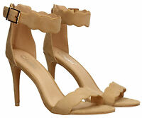 Womens Stiletto Suede Ankle High Heel Pump Sandal Ladies Shoes Nude Beige Black