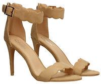 Womens Stiletto Suede Ankle High Heel Pump Sandal Ladies Shoes Nude Beige Black