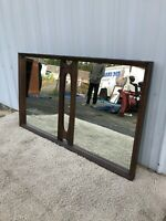 Mid Century Modern Large Mirror with Walnut Frame and Detailing
