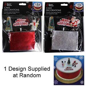 Christmas 4 Piece Cake Decorating Kit - Ribbon & Toppers - Random Sent
