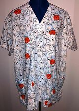Scrub Top M Peaches Halloween White Ghosts Orange Pumpkins Prev Owned Exc Cond