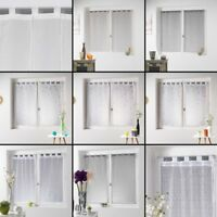 Pair of Woven Fishnet Voile Blinds with Tab Top - White  Cream Beige