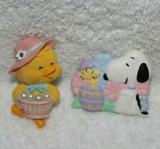 2- EASTER THEMED LAPEL PINS-CHICK w/BONNET AND SNOOPY w/WOODSTOCK-AVON/HALLMARK