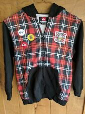 NEW QUICKSILVER Plaid Red Mohawk Zip Up Hoodie Sweatshirt Kids Size 6 NWT