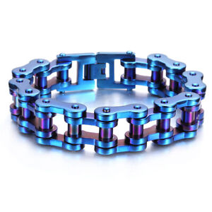 """New Blue 19mm 316L Stainless Steel High Quality Men's Bicycle Bangle Bracelet 9"""""""