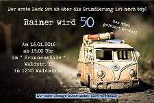 10 Einladungskarten Geburtstag VW Bulli Bus Oldtimer Einladungen jedes Alter!