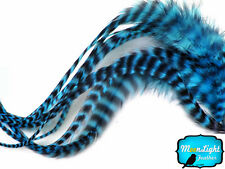6 pieces - XL TURQUOISE BLUE Grizzly Thick Rooster Hair Extension Feathers