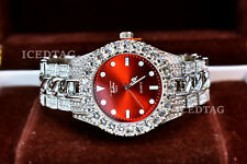 MENS ICED HIP HOP WH. GOLD PT TRENDY RED FACE MIAMI PARTY CLUBBERS BLING WATCH