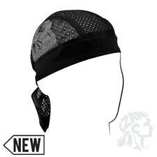 Black Silver Safety Reflective Skull Vented Sweatband Doo Rag Headwrap Skull Cap