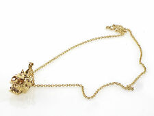 $440 Alexander McQueen Gold & Crystal Liberty Spike Skull Pendant Necklace NEW
