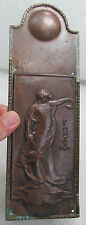 ANTIQUE G. HALLIDAY SIGNED/DATED ART NOUVEAU/CRAFTS COPPER FINGER PLATE/PLAQUE