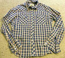 BDG Brown Red Blue Metallic Plaid Cowboy Casual Snap Button Up Shirt mens Medium
