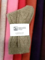 100% Cashmere Cable Socks | Johnstons of Elgin | Made in Scotland | Brown | Warm
