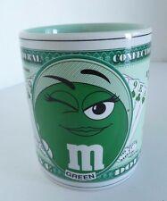 M&M Candy Green Lady Luck $5 dollar Bill Money White Green Porcelain Mug. Mars