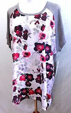 DAISY FUENTES WOMEN PLUS 3X FLORAL BLACK BURGUNDY HI LO TUNIC TOP BLOUSE SHIRT