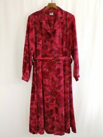 Vintage C&D Tea Button Down Dress w/ Belt Size 24 Crimson Red Made in UK 80s 40s