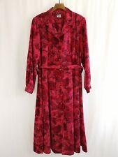 Vintage C&D Tea Button Down Dress w/ Belt Size 24 Crimson Red Made in UK 80s 40s