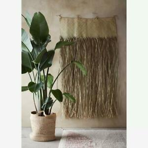 Woven Dried Grass Wall Hanging Decoration, Large Rustic Boho Tropical, 160cm