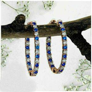 2 Ct Round Cut Blue Sapphire & Diamond Huggie Hoop Earrings 14k Rose Gold Over