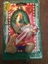 "Vintage Christmas Bear Soldier Personalized Name Ornament 3.5"" Grandpa New"