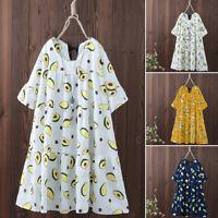 ZANZEA Women Casual Loose Flare Sleeve O Neck Lace Up Avocado Printed Mini Dress