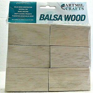 BALSA WOOD BLOCKS 6 66mm x 36mm x 36mm Plantation grown New 2003