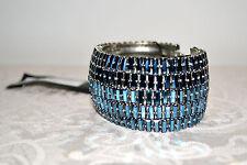 NIB $960 RODRIGO OTAZU Montana Blue Baguette Crystal Wide CUFF Bangle Bracelet