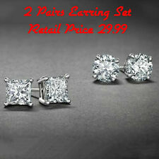Sterling Silver Stud Earrings Cubic Zirconia Round Men Women 2PC CZ Earrings Set