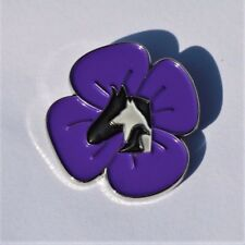 PURPLE POPPY  - ANIMALS IN WAR - REMEMBRANCE BADGE - SILVER                (P14)