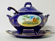 Vintage Cobalt Blue RB Alcobaca 1410 Ceramic Soup Tureen With Spoon Portugal EUC