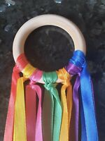 Handmade 7cm Baby Sensory Rainbow Ribbon Natural Beech Wood Ring SEN Girl Boy