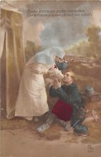 POSTCARD  MILITARY  WWI  SENTIMENTAL   Nurse  Wounded  French  Soldier