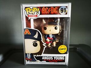 Angus Young CHASE Funko Vinyl Figure #91 Pop Rocks AC/DC With Horns + Protector