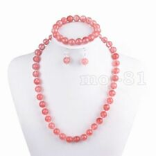10mm Natural Watermelon Tourmaline Round Beads Necklace Bracelet Earrings Set