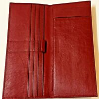 Mens Long Burgundy Bifold Wallet Cash Credit Cards Cheques - Dubai National Bank