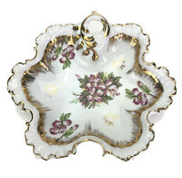 Vintage Round Shaped Candy Dish Pink Floral  Gold Trim Scalloped Edges Ceramic
